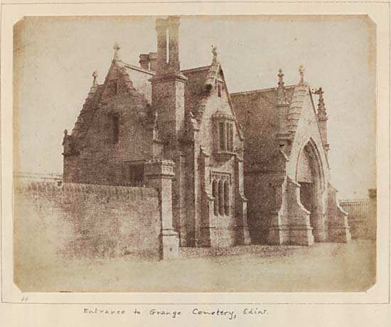 Calotype of entrance to Dalry Cemetery